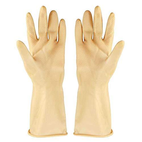 DUDUO-Gloves Guanti da Lavoro 10 Paia di Guanti Impermeabili riutilizzabili in Nitrile per lavastoviglie per la Pulizia della casa (Color : Beige)