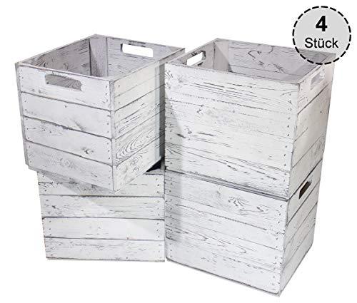 4X Schöne Korbkiste aus Holz, passend für Kallax IKEA, zum Verstauen von Schulsachen/Spielzeug, neu, 37,5x32x32,5cm (Vintage)