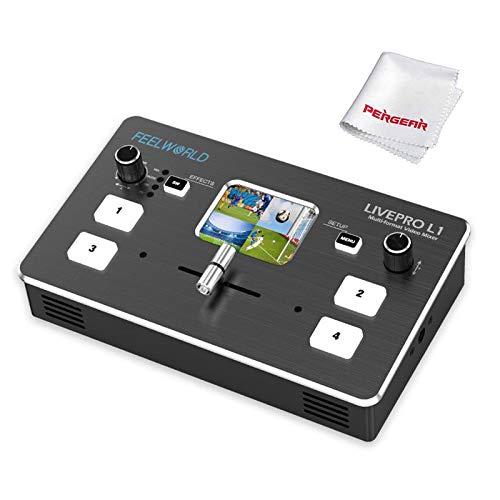 Feelworld Livepro L1 Mixer/Switcher video multiformato, 4 ingressi HDMI, Display TFT da 2 pollici, Streaming live USB 3.0, Controllo tramite APP PC/Smartphone, Supporta l'aggiunta di effetti video