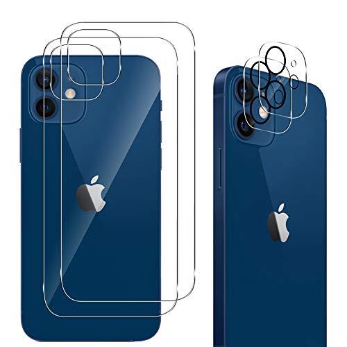 "QULLOO [2 Piezas Protector de Pantalla Trasera de Vidrio para iPhone 12 6.1"" + [2 Piezas] iPhone 12 6.1"" Protector de Lente de cámara, [Resistente Arañazos] [9H Dureza] HD Film Templado Protector ✅"