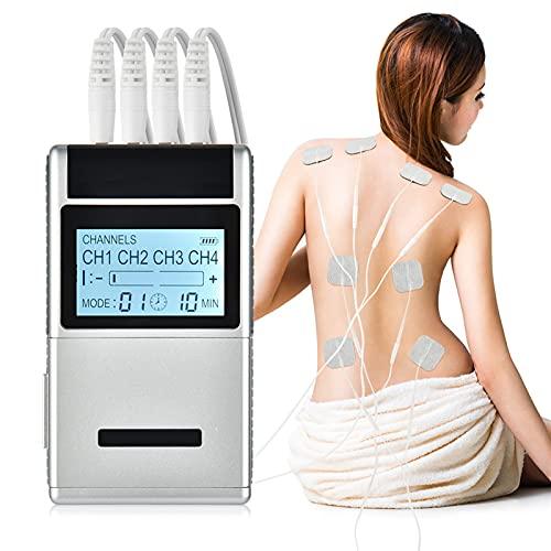 FOOSKOO Tens electroestimulador Unidad Fisioterapia Massager 4 Channel Salida Electroestimulador Estimulación Muscular Terapia Digital Digital DIEOR AHORRADOR MÁQUINA DE Masaje DE Masaje