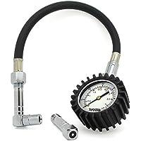 TIRETEK Flexi-Pro - Manómetro para neumáticos de coche y moto, con adaptador recto y en ángulo, mide presiones de hasta 60psi