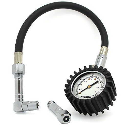 TIRETEK Flexi-Pro - Manómetro para neumáticos de coche y moto, con adaptador recto...