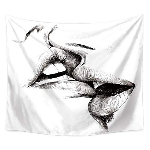 DLYDSSZZ Mujer Hombres besándose Tapiz extracto de la Mandala del Arte del Bosquejo del Beso de los Amantes Colgar de la Pared de la tapicería for el Dormitorio Sala de Estar.Blanco Negro