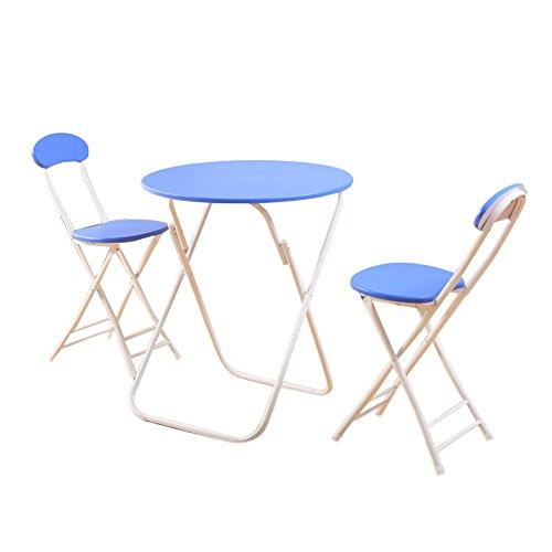 ZXL klaptafels en stoelen, 3-delige combinatieset, familietafel, balkon, tafel en stoelen, rond, eenvoudig te vervoeren en op te bergen, bruin/zwart/blauw/geel/roze