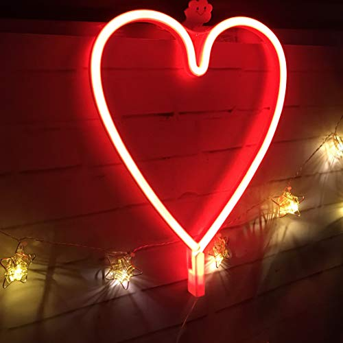 QiaoFei Neon Light,LED Heart Sign Shaped Decor Light,Wall Decor for Valentine's Day,Birthday Party,Kids Room, Living Room, Wedding Party Decor (Red)