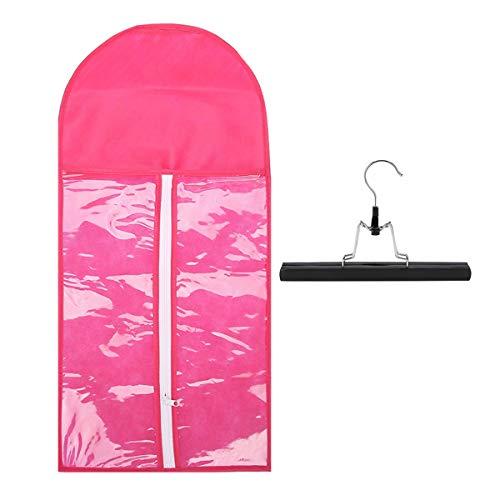 Extensions de cheveux portables Stockage de transporteur Sac de tailleur non tissé W/Hanger pour cheveux de trame vierge et pince en extension de cheveux (Color : Pink)