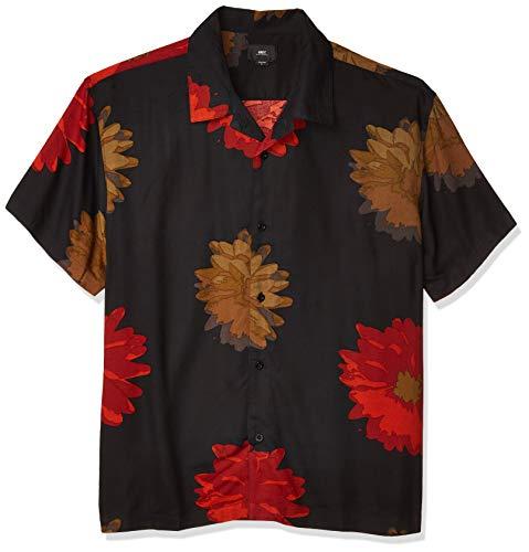 Obey Herren Lou SS Woven Button Down Hemd, Schwarz Multi, Klein