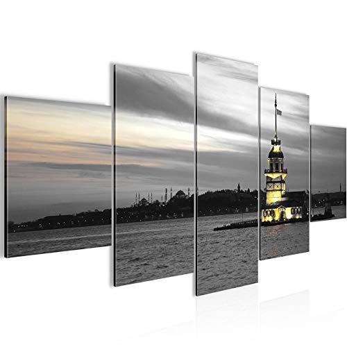 Städte Istanbul Bild Vlies Leinwandbild 5 Teilig Leuchtturm Schwarz Weiss 6041c