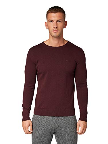 TOM TAILOR Herren Pullover & Strickjacken Schlichter Strickpullover Dark Wineberry Melange,XL