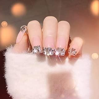 24PCS French Nail Tips Bling Bling Diamond Light Pink French False Nail Tips Square Medium Artificail Nail