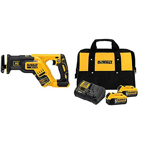DEWALT 20V MAX XR Reciprocating Saw, Compact, Tool Only (DCS367B) & 20V MAX Battery Starter Kit with 2 Batteries, 5.0Ah (DCB205-2CK)