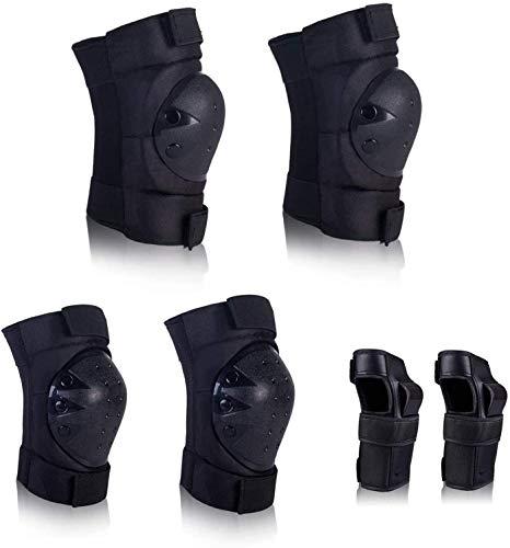 Cneng Protektoren Set Protektorenset Schützerset 6 in 1 Profi Schutzausrüstung für Kinder & Erwachsene (Schwarz, L)