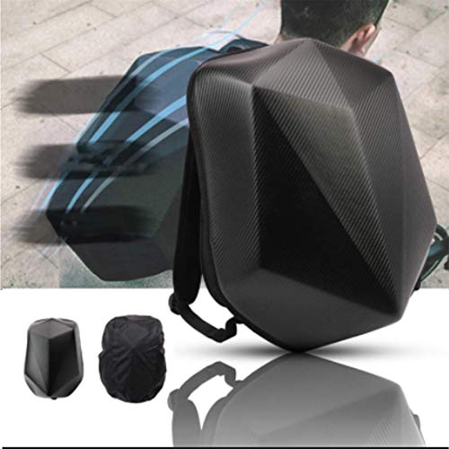 Motorcycle Backpack Hard Shell Backpack - Diamond Shape Carbon Fiber Motorbike Backpack Waterproof 30L Large Capacity - Riding Backpack For Outdoor Travelling Camping Cycling