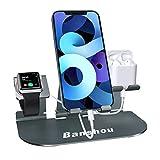 Station de charge 3 en 1 pour Apple Watch Series SE / 6/5/4/3/2, chargeur de support de téléphone réglable en aluminium compatible avec iPad Pro, AirPods Pro / 2/1, iPhone 12/11 / Pro / Xs Max / XR / X / 8/7 / 6s Plus