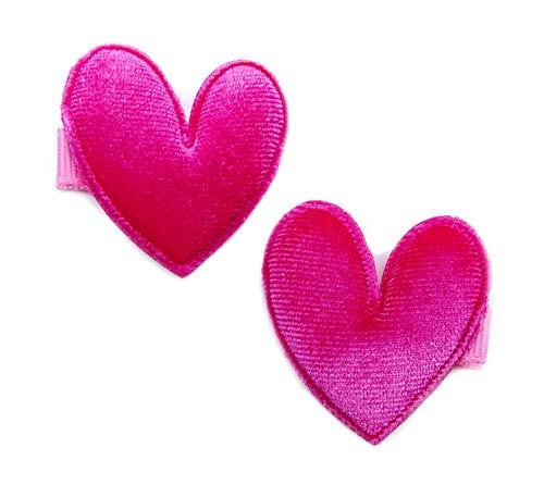 onweerstaanbaar1 pak van 2 luxe zacht fluweel hart gevormde strikken 3,5 cm op snavel haarspeldjes in Fuschia hart