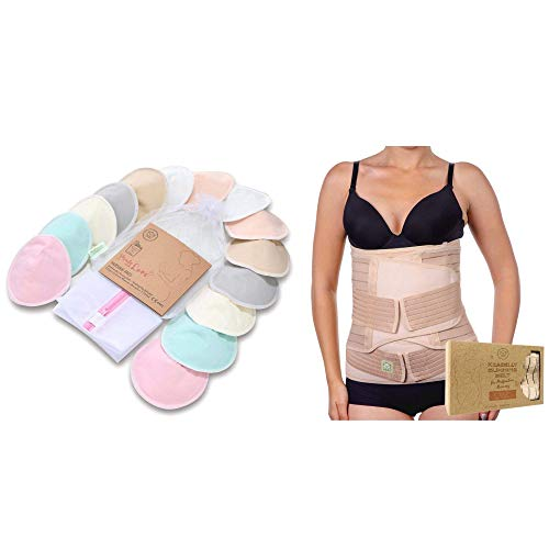 Bamboo Nursing Pads & Postpartum Belly Support Belt Bundle - Post Pregnancy Belly Belt - Breastfeeding Nipple Pads for Maternity - Maternity Essentials for New Mothers