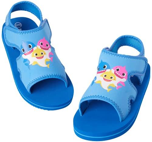 Nickelodeon Boys' Baby Shark Sandals – Adjustable Strap Summer Sports Sandals with Heel Strap (Toddler/Little Kid), Size 7/8, Baby Shark Blue