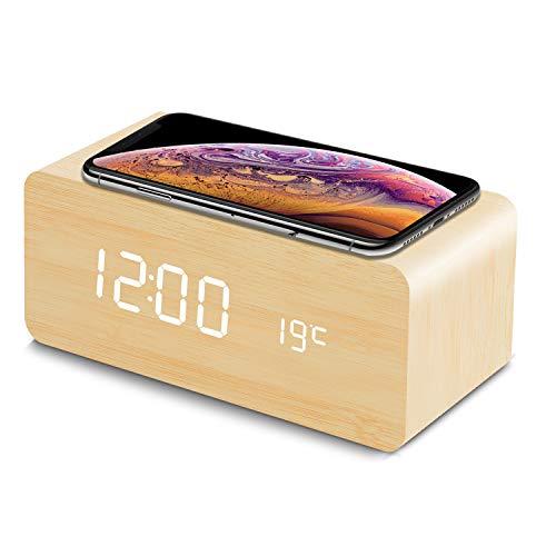 fomobest LED Wecker Digital Wecker Holz Tischuhr mit Induktionsladegeräte/Datum/Temperatur Anzeige Bambus