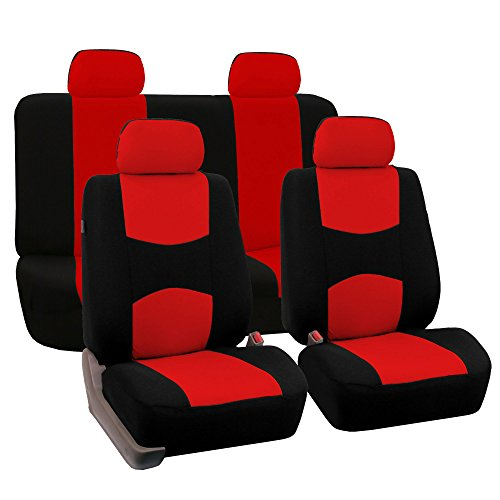 red and black seat covers leather - 6