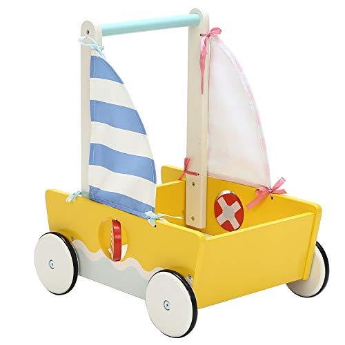 Kinder Segel 2in1 Lauflernwagen Holz Gelbe Stilvolle Lauflernhilfe Baby Push Pull Wagen Spielzeug für 1-3 Jahre