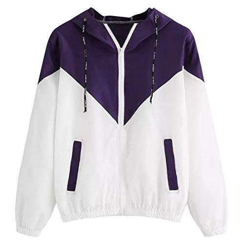 Sweatshirt Damen Casual Running Atmungsaktive Reißverschlusstasche Langarm Herbst Trend Classic All-Match Damen wasserdichte Jacke Damen Hoodie Purple_ L