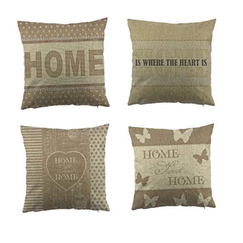 The Letter Printed Cushion Cover For Chair Purple Flower Pattern Throw Pillowcase Cottom Seat Cushion Cover