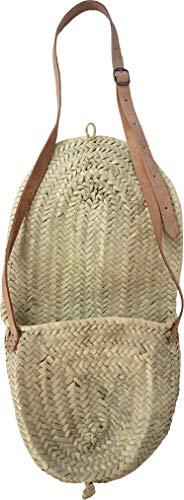 Small Moroccan shoulder saddle bag/basket with long natural leather handles - H20 cm W24 cm