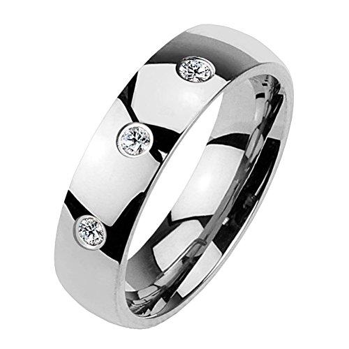 Paula & Fritz® Klassischer Dom Ring aus Chirugenstahl Edelstahl 316L Silber 4mm breit mit DREI Zirkonia 57 (17)
