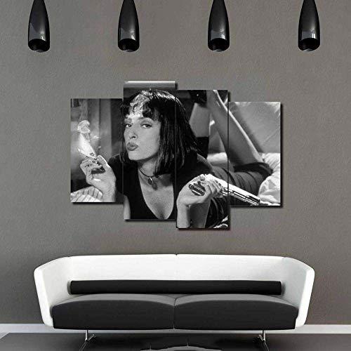 HNBDH Stampe e Quadri su Tela 4 Pezzi Moderni Home Decor Mia Fumo Immagini Stampate Pulp Fiction Personaggi del Film Ragazza Pittura Soggiorno Frameless 100X160Cm