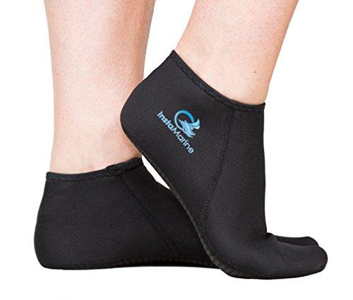 InstaMarine (Medium 8-9 Premium Neoprene Socks and Water Fin Sock Perfect for Water Sports, Snorkeling, Diving, Swimming