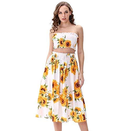OKHGF Frauen Cocktailkleider Frauen Summer Beach Wear 2-Teiliges Set Sexy Tube Top Sonnenblumenkleid Trägerloser Print Party Dress-White_S