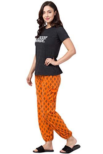 FUNDAY FASHION Cotton Pyjama Set for Women/Night Suit for Women and Girls/Nightwear/Sleepwear/Loungewear for Women & Girls (Black Orange, X-Large)