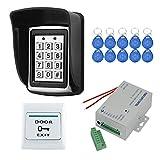 YAVIS RFID Control de Acceso Impermeable Teclado Táctil Independiente Proximidad para Sistema de Control de Acceso 125KHz Con 3A Fuente de Alimentación, Botón de Salida, 10pcs ID llaveros Keyfobs