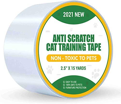 Petslucent - Cinta Adhesiva para Patas Adhesivas para disuadir arañazos de Gatos, Cinta Protectora de Entrenamiento para Muebles para Gatos (Azul, 2.5 x 15 Yardas)