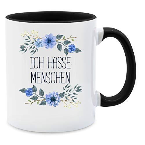 Tasse mit Spruch - Ich hasse Menschen Blumen - Unisize - Schwarz - tasse xxl - Q9061 - Kaffee-Tasse inkl. Geschenk-Verpackung