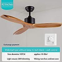 MOREWEY 空気循環 照明 ライブルームのための木製のLEDの天井ファン110 v - 220Vの天井ファンのライト52インチブレードの冷却ファンリモートファンランプ 長寿命 省エネ 取付簡単 (Blade Color : Black wall control, Wattage : 42 Inch)