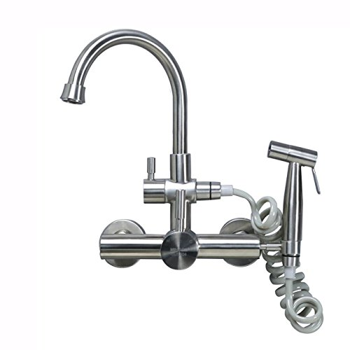 Unterputz-Typ heiß und kalt Wasserhahn Spritzpistole 304 Edelstahl Küchenarmatur Wäsche Pool drehbar (an der Wand montiert)