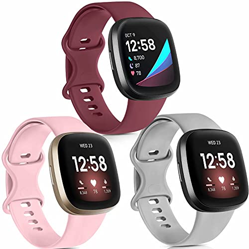 [3 Pack] Silicone Bands Compatible with Fitbit Versa 3 & Fitbit Sense Bands, Replacement Sport Adjustable Soft Waterproof Sport Wristbands Accessories for Women Men, Wine Red/Pink/Gray, Small