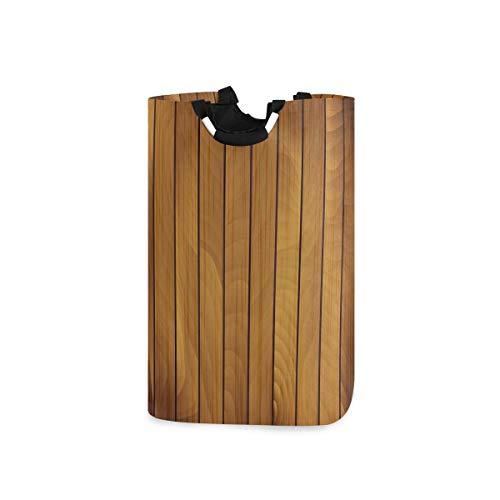 COFEIYISI Wäschesammler Wäschekorb Faltbarer Aufbewahrungskorb,Braune Holzplanke im Alter von Holzdruck,Wäschesack - Wäschekörbe - Laundry Baskets