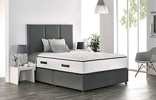 Base de diván de lino con cabecero de pie a juego y colchón de bobina de resorte de memoria real (individual de 91 cm, sin almacenamiento, negro)