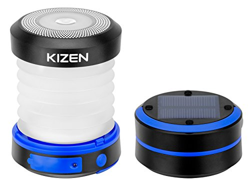 Kizen LED Camping Lanterns - Solar Powered or USB Rechargeable Emergency Lights - Collapsible Camp Lanterns for Power Outages, Night Hiking & Camping, Blue/Black