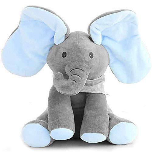 ZXYSHOP Elefante Peluche de Juguete Música Elefante del Juguete de Felpa para Niño Jugar al Escondite Elefante Juguetes Gran niños y Adultos Grey