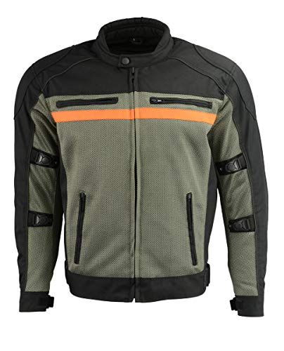 M Boss Motorcycle Apparel BOS11707 Mens Black and Grey Nylon and Mesh Combo Racer Jacket with Armor - 5X-Large