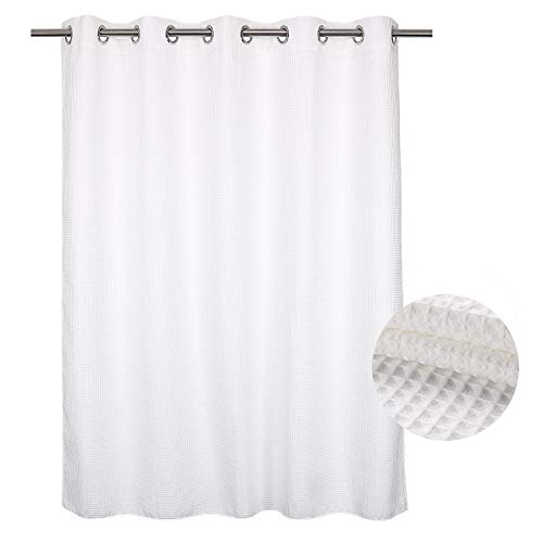 River Dream Hotel Grade No Hooks Needed Shower Curtain with Snap in Liner,Water Repellent, Machine Washable (White, 71'x86'(W/Liner))
