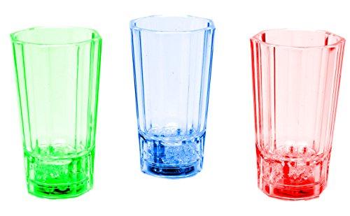 LED-Highlights Glas Becher Schnapsglas 3er Set Schnapsgläser beleuchtet 60 ml bunt LED rot blau grün Bar Partyglas Kunststoff Trinkglas mit Batterie