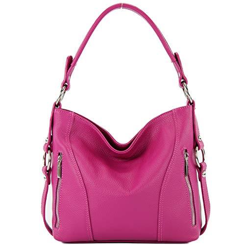 modamoda de - T202 - ital. Damen Henkeltasche Schultertasche aus Leder, Farbe:Pink