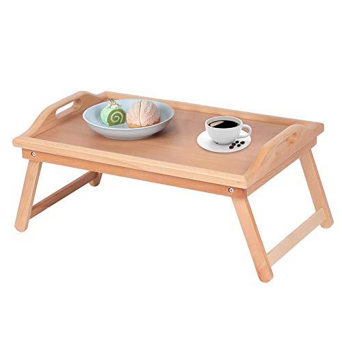 Mesa auxiliar plegable de madera con 2 asas, para desayuno, mesa de...
