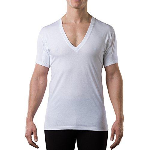 Thompson tee - Camiseta Interior antisudor con Refuerzo Antimicrobiano en Las Axilas - Corte Regular - Cuello Redondo - Blanco - XXX-Large
