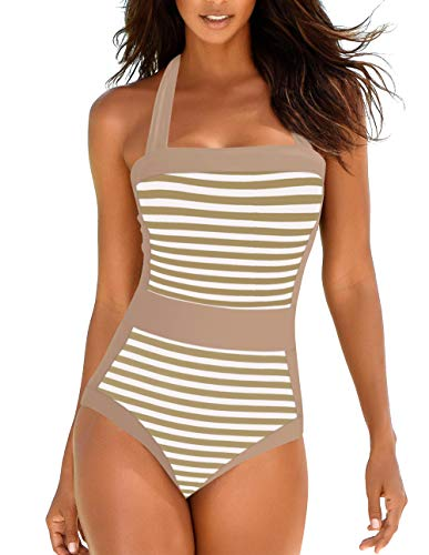 Upopby Women's Vintage Slimming One Piece Swimsuits Padded Striped Printed Pin Up Bathing Suits Halter Swimwear 10